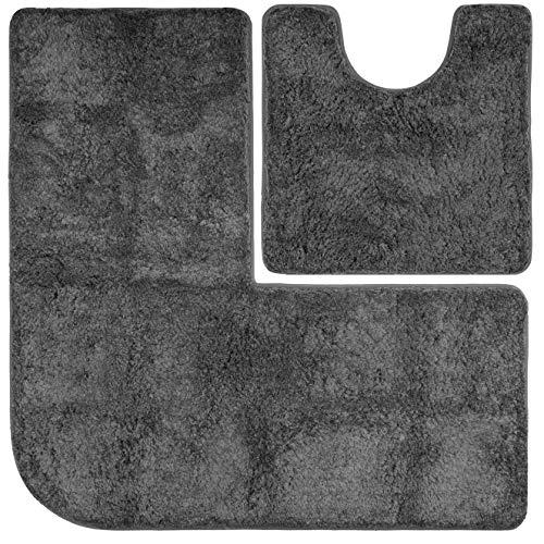 FLUFFY Badteppich-Set - Vorleger für Eckduschen und WC, Hochflor aus Mikrofaser, rutschfeste Unterseite (Anthrazit)
