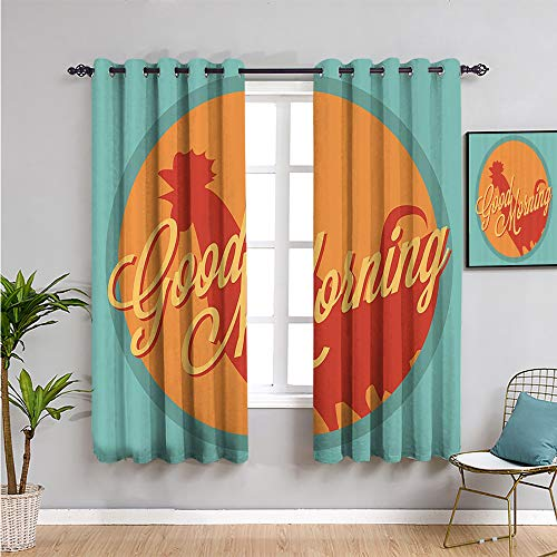 SONGDAYONE gallus Outdoor curtain, Curtains 84 inch length ro and sun good morning vintage agriculture sunrise farm landscape Daily use W52 x L84 Inch turquoise orange ruby
