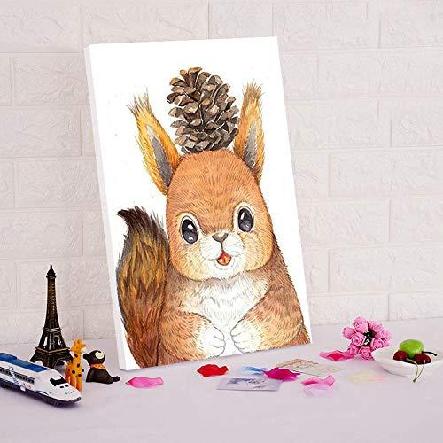 YWOHP Nette Cartoon Tier Digitale Digitale Farbe malen durch Digitale modulare Malerei durch Digitale Wandfarbe Leinwand 30X45cm_Frameless_digital Malerei