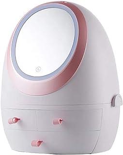 ZGYQGOO Organisateur de Maquillage, boîtes de Rangement Modernes pour Bijoux et cosmétiques avec Miroir éclairé par LED, R...