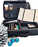 CatwalkFX Professional Makeup Train Case, Travel Organiser with EVA Adjustable Dividers, Cosmetic Makeup Bags for Women - Black with Exclusive Removable LED Light Up Travel Mirror with Stand - Small