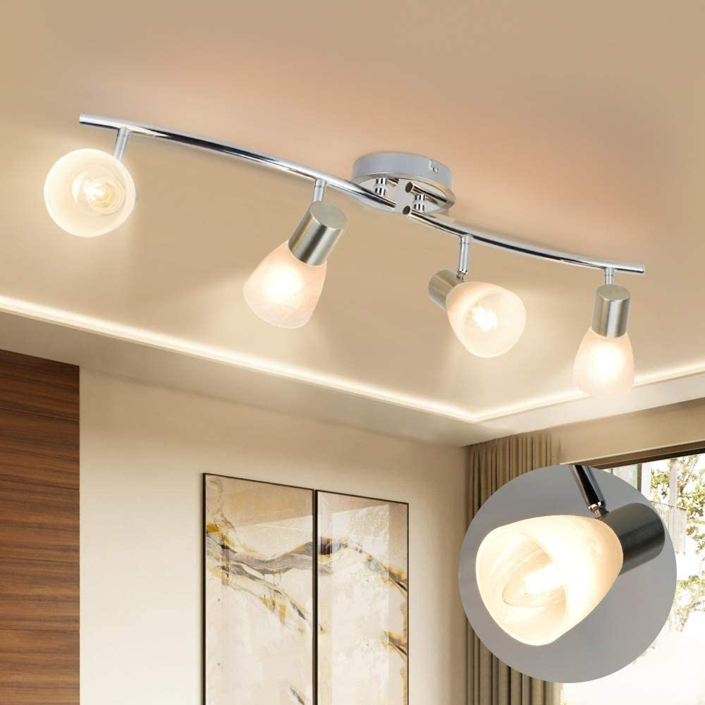DLLT Led Track Light,4-Light Foldable Spot Lights Fixtures with Glass Shade, Wall Accent S-Shaped Tracking Ceiling Lighting for Kitchen, Office, Bedroom, Picture Wall, Hallway, E12 Base