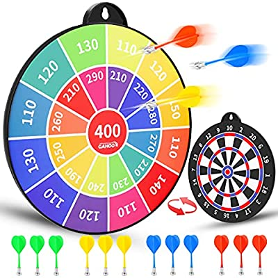 Magnetic Dart Board, Safe Dart Game for Kids, 12pcs Magnetic Darts, Excellent Indoor Game, and Party Games, Double-Sided Dartboard Toys Gifts for 4 5 6 7 8 9 10 -12 Years Old Boys Girls and Adults
