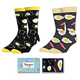 Zmart Men's Funny Food Fruit Socks Crazy Novelty Pineapple Taco Pizza Socks 3 ★【GREY BEER&PRETZEL SOCKS】Grey beer with pretzel socks for men. A quirky pair of socks with pitchers of beer and pretzels throughout, this crew socks are unique and all around comfortable. Life doesn't get any better when you have a nice frothy mug of beer and bowl of crispy, salty pretzels all within arms reach. These are a snug pair of socks with styling to show off your fun personality. ★【SIZE & PACKING】Mens beer socks, Fit for Sock size 8-14, mens shoe size 7-13. 1 pair comes in each plastic zippered bag. ★【QUALITY MATERIAL】Novelty beer socks use 80% cotton, 17% polyamide, and 3% spandex to ensure our socks are soft, high quality material provides moisture wicking properties, comfortable, stretchy and breathable. No fading, hold up well in the laundry.