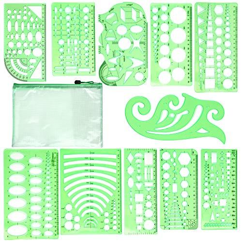 11 plantillas de dibujo de plástico, plantillas de dibujo de plástico, regla, plantillas de dibujo de plástico con bolsa de almacenamiento para escuela, oficina, arquitectura, edificios