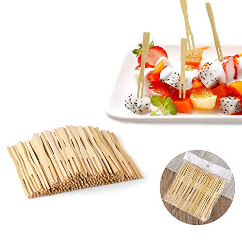 Bamboo Forks,3.5 inch,Mini Food Picks Skewers for Appetizer, Fruit, Pastry, Dessert, Garnish, Sandwich (2 Packs of 200)