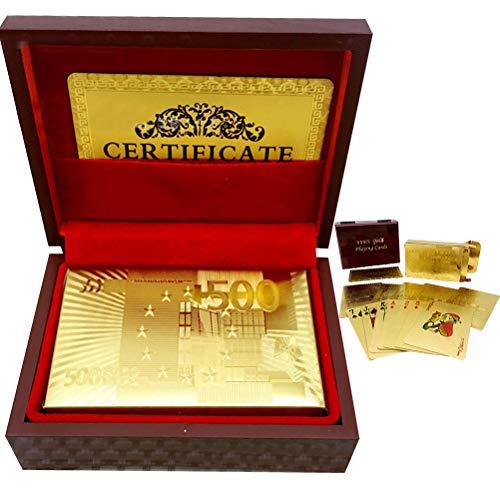 teyiwei EU 50 Pfund Goldfolie Spielkartenset, 24 Karat vergoldete wasserdichte Pokerkarten mit Deluxe Holzkiste, Klassische Spielkarten Spielgeschenke für Familienfeiern/Kartenspieler