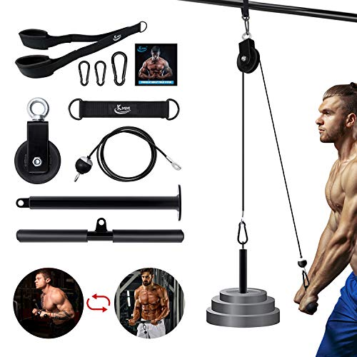 KMM Pulley System Gym, Pulley Cable Machine Professional Muscle Strength Fitness Equipment Forearm Wrist Roller Training for LAT Pulldowns, Biceps Curl, Triceps Extensions Workout Straight Machine