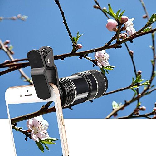 Topist 光学ズーム12倍 スマートフォン用カメラレンズ クリップ式 挟み 望遠レンズカメラに変身 マクロレンズ 幅広い機種に対応 iPhone iPadタブレットPC Android