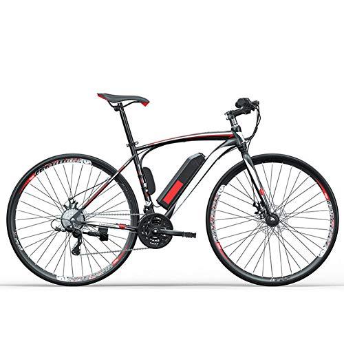"""HWOEK Adulto Bicicleta eléctrica de Carretera, 250W 36V Batería extraíble 27"""" Ciudad Ciclomotor eléctrico de Litio 27-Velocidades Doble Freno de Disco Unisexo,Blanco,14AH"""