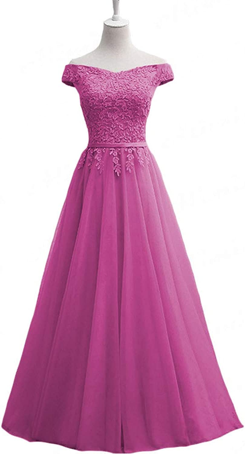 Clothfun Women's Elegant Bridesmaid Dresses Cap Sleeve Appliques lace Wedding Guest Dress Tulle Formal Party Gowns PM33