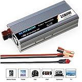 パワーインバーター(ピーク4000W)、純粋な正弦波インバーター2000W-12V / 24V〜220V / 110V USBポート付き車両電圧コンバーター、カーバッテリーに直接接続可能,12VTO110V