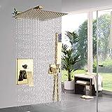 Grifos de ducha Ducha Conjunto de ducha Sistema de lujo ducha de lluvia de oro del grifo de montaje en pared sola manija grifo mezclador de la ducha cuadrado de la ducha de mano oculta Instalar Sistem