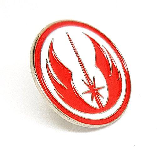 Broche de metal esmaltado con diseño de Star Wars Orden de Jedi Warrior Insignia (rojo y blanco)