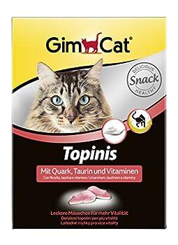 GimCat Topinis avec Fromage Blanc, Taurine et vitamines – Friandise Saine pour Chat pour Plus de vitalité – 1 Paquet (1 x 220 g)