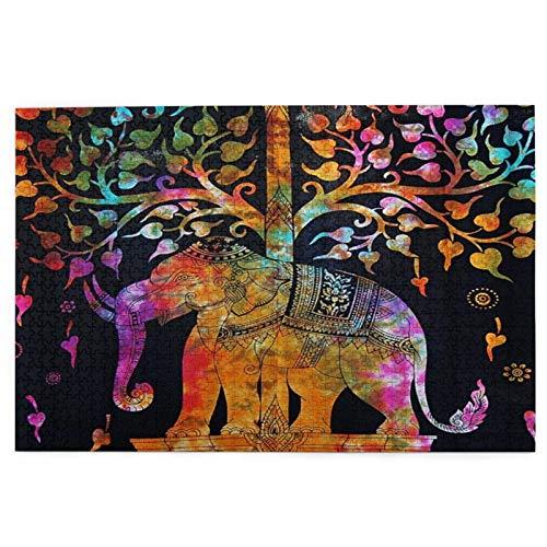 rompecabezas 1000 piezas para adultos Un elefante colorido debajo del árbol colorido en el fondo negro rompecabezas para niños niñas mayores regalos