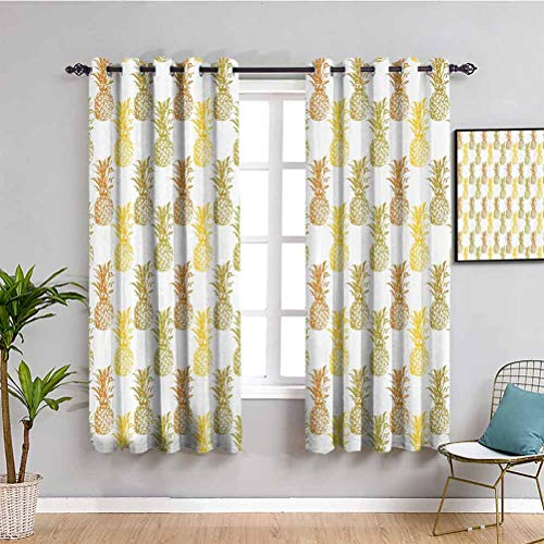 Cortina aislada de piña con sombreado, dibujado a mano, simplemente bosquejado, fondo mínimo, piñas, cortina de baño, mostaza, canela, verde oliva, 42 x 63 pulgadas