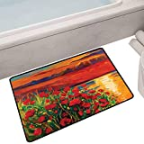 """Printed Mats for Children Bedroom Oil Painting View Stone Stairs in The Greek Garden Greenery Forest Picture,35""""X24"""" Rectangle Floor mats for Trucks"""