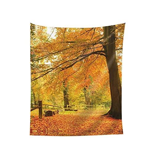 Tapiz para colgar en la pared, escena del bosque de otoño, manta de pared impresa para sala de estar, dormitorio, decoración del hogar, 152 x 130 cm