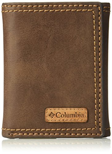 Columbia Men's RFID Leather Wallet - Big Skinny Trifold Vertical Security Protection Credit Card Slots and ID Window, Brown, 1 sizee