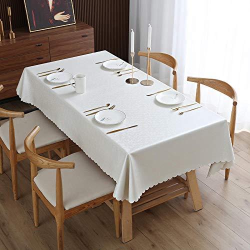 XQSSB Mantel para de Cocina Salón Rectangular Durable Impermeable Lavable Diseño de Comedor Decoración del Hogar Blanco Plateado 80 × 120cm