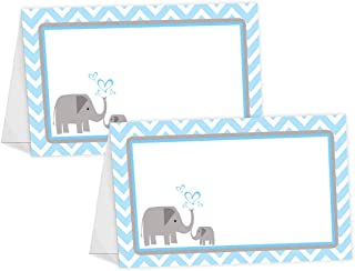 POP parties Little Elephant Blue Table Tents - 12 Elephant Buffet Cards - Baby Shower Place Cards - Baby Shower Decorations - Elephant Party Decorations - Elephant Party Supplies