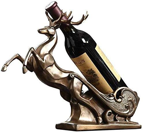 ZWJWJ Escultura Estante para Botellas de Vino Estante para vinos Elk Estante para vinos decoración Cocina Restaurante Estante para vinos encimera gabinete Bodega Estante para Botellas de Vino
