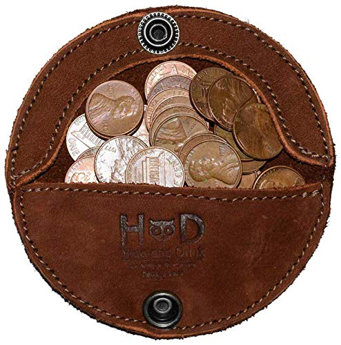 Hide & Drink, Rustic Leather Moon Coin Case, Handmade - Swayze Suede