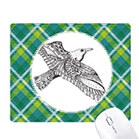 鳥の忠実な激しいフライング・ペイント 緑の格子のピクセルゴムのマウスパッド