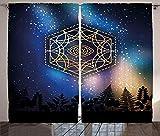 ABAKUHAUS Geometría Cortinas, Tercer Ojo Vía Láctea, Sala de Estar Dormitorio Cortinas Ventana Set de Dos Paños, 280 x 245 cm, Multicolor