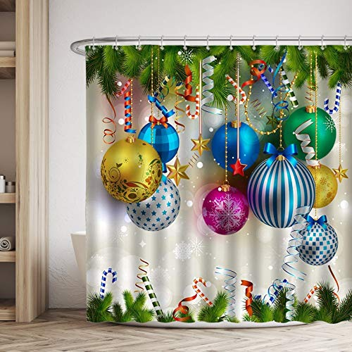 "VIVEKATT Christmas Shower Curtain, Colorful Xmas Balls Green Pine Branches Fabric Bathroom Shower Curtains with Hooks for Holiday Home Decor, 71""X71"""