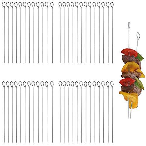 50 piezas Aperitivos Palillos Dientes Reutilizables Pinchos Barbacoa Kebab Plano Barbacoa Pinchos Aperitivos Palillos Coctel Acero Inoxidable Para toda la carne vegetariana apta lavavajillas Acero