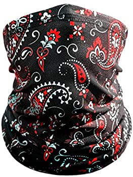Paisley Motorcycle Face Mask By Indie Ridge - Dust and Wind Riding Outdoor Neck Gaiter  Black