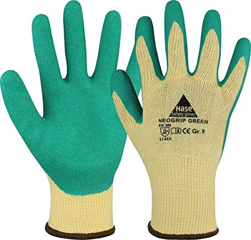 10 Paar Hase Safety Gloves Neogrip Green Latex-Arbeitshandschuhe, Rutschfeste Gartenhandschuhe für Damen und Herren Größe M (08)