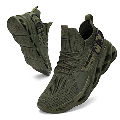 SANEARDE Zapatillas de correr para hombre, transpirables, antideslizantes, para correr, para correr, para hacer deporte, para tenis, para fitness, transpirables, Verde militar, 43 EU