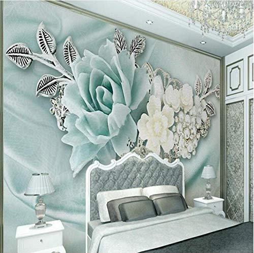 Fondo de pantalla personalizado grande 3D estéreo menta verde joyería perla pintura al óleo flores TV telón de fondo decoración del hogar-200x140cm