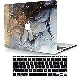 ACJYX Funda Solo Compatible con MacBook Air 13' A1466 A1369 Versión Anterior 2017 2016 2015 2014 2013 2012 2011 2010, Carcasa Protectora de Plástico & Cubierta para Teclado, Mármol Negro Dorado