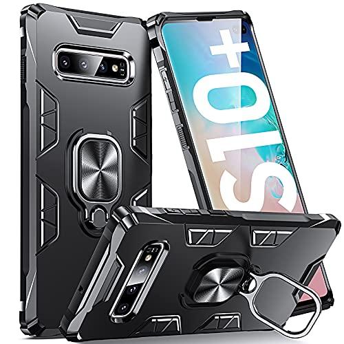 Supdeal Compatibile con Cover Samsung Galaxy S10+ Plus, Custodia Avere Antiurto 360 Gradi Anello Magnetico Fashion Resistente Graffi TPU Protezion, Nero