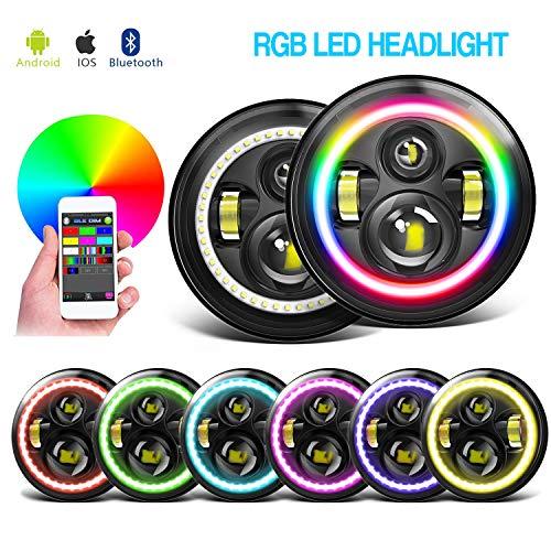 4XBEAM 7 Inch RGB Halo LED Headlights for Jeep Wrangler JK LJ TJ CJ Hummer H2 H1 Sahara Sport Rubicon