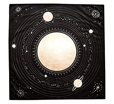 Altar Tarot Cloth with Planets and Our Solar System, Large 24 Inches x 24 Inches, Black and Gold