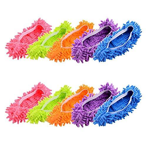 A 5 Paare Mop Schuhe, Bodenwischer Lazy Slippers Hausschuhe, Mikrofaser Staub Putzschuhe, Einfach für Haus Boden Staub Schmutz Haare Reinigung,5 Farben