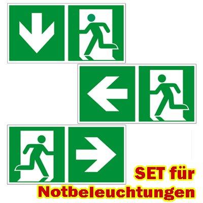 Ersatzschilder für LED Notbeleuchtung universal - Rettungszeichen - Fluchtweg - Notausgang - Rettungsweg