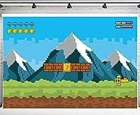GooEoo 10x7ftゲームビデオ背景古典的な子供の写真撮影背景テーマ誕生日パーティーバナースタジオ小道具家族パーティー誕生日背景ベビーシャワーの装飾ビニール素材