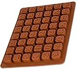 BlueFox Silikonform Buchstaben und Zahlen, Pralinenform, Eiswürfelform, Silikon Schokoladenform, 24 x 18 x 1,5cm, Beton, Fondant, Zahlenform, Pralinen, Süßigkeiten, Farbe: Braun