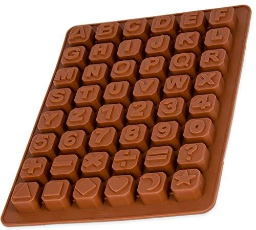 BlueFox Silikonform Buchstaben und Zahlen, Pralinenform, Eiswürfelform, Silikon Schokoladenform, 24 x 18 x 1,5cm, Beton, Epoxidharz, Zahlenform, Pralinen, Süßigkeiten, Farbe: Braun
