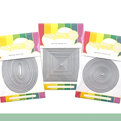 Waffle Flower Nesting Basics Bundle 1 - The Bundle Includes Nesting Circles Die (310332), Nesting Squares Die (310333) or Nesting Ovals Die (310334). There are 17 Dies in Each of These die Sets.