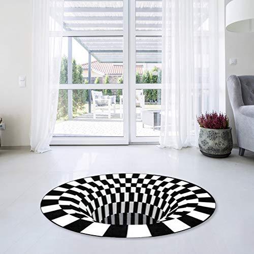 OEAK Runder Teppich 3D Optische Täuschung Rutschfester Teppich Stereoskopischer Schwarzweiss Illusionsteppich Wohnzimmer Teetisch Fußmatte