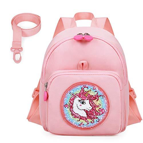 mommore Einhorn Pailletten Kleinkind Zügel Rucksack Kindertasche für Mädchen Schultaschen für 1-3 Kinder,Pink
