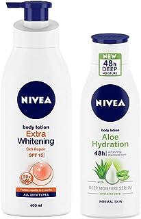 Nivea Body Lotion, Extra Whitening Cell Repair SPF 15, 400 ml and Nivea Aloe Hydration with Aloe Vera, 120 ml