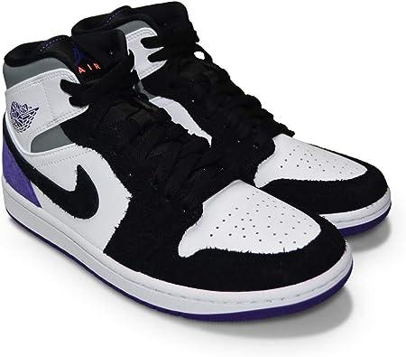 Nike Mens Air Jordan 1 Mid SE - 852542 105 - White Court Purple Black - Trainers for Men - Mid top Air Jordan Shoes for Men Court Purple (UK